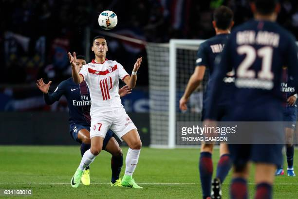 Lille's French forward Anwar El Ghazi controls the ball during the French L1 football match between Paris SaintGermain and Lille on February 7 2017...