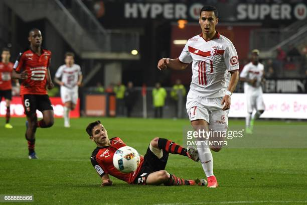 Lille's French forward Anwar El Ghazi vies with Rennes' Portuguese defender Afonso Figueiredo during the French L1 football match Rennes against...