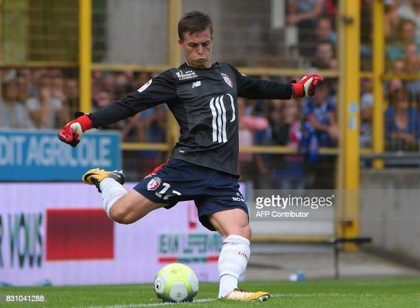 Lille's French forward Nicolas De Preville playing as goalkeeper kicks the ball during the French Ligue 1 football match between Strasbourg and Lille...