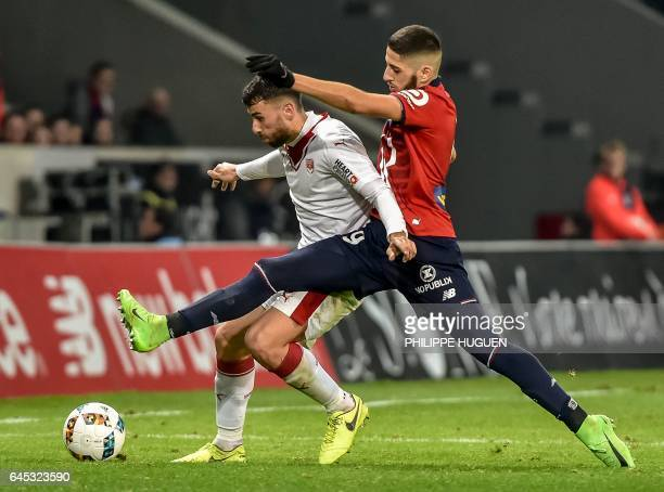Lille's French forward Yassine Benzia vies with Bordeaux's Serbian defender Milan Gajic during the French L1 football match Lille vs Bordeaux on...