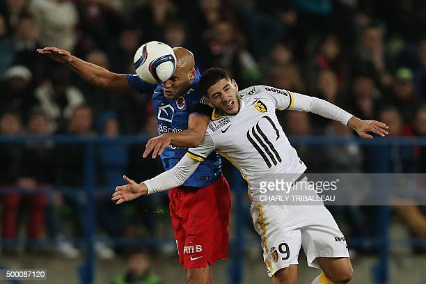 Lille's French forward Yassine Benzia vies with Caen's French defender Ala eddine Yahia during the French L1 football match between Caen and Lille on...