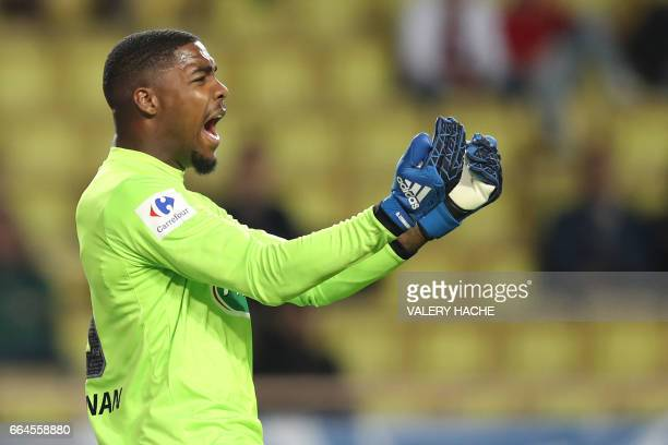 Lille's French goalkeeper Mike Maignan reacts during the French Cup football match between Monaco vs Lille at the 'Louis II' stadium in Monaco on...