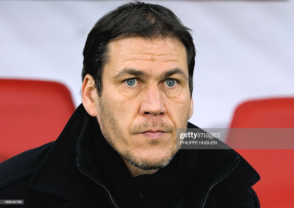 Lille's French head coach Rudi Garcia looks at his team during the French L1 football match Lille vs Troyes on February 2, 2013 at the Grand Stade Stadium in Villeneuve d'Ascq.