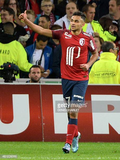 Lille's French midfielder Sofiane Boufal celebrates after scoring a goal during the French L1 football match between Lille and Montpellier on October...