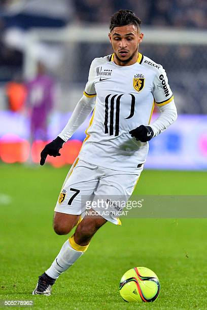 Lille's French midfielder Sofiane Boufal runs with the ball during the French Ligue 1 football match between Bordeaux and Lille on January 16 2016 at...