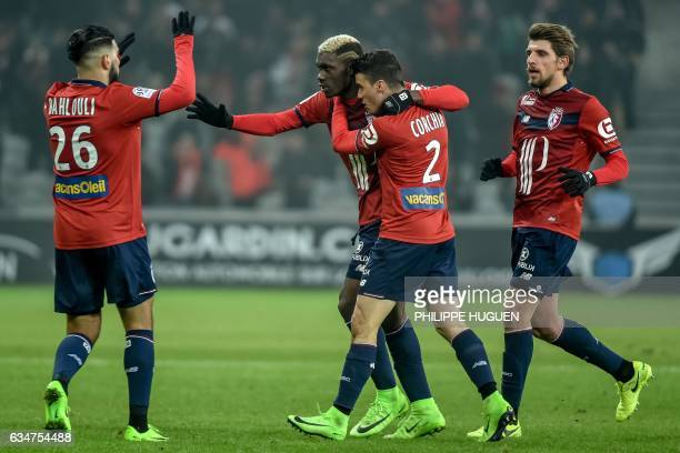 Lille's French midfielder Yves Bissouma celebrates with his teammates after scoring a goal during the French L1 football match between Lille and...