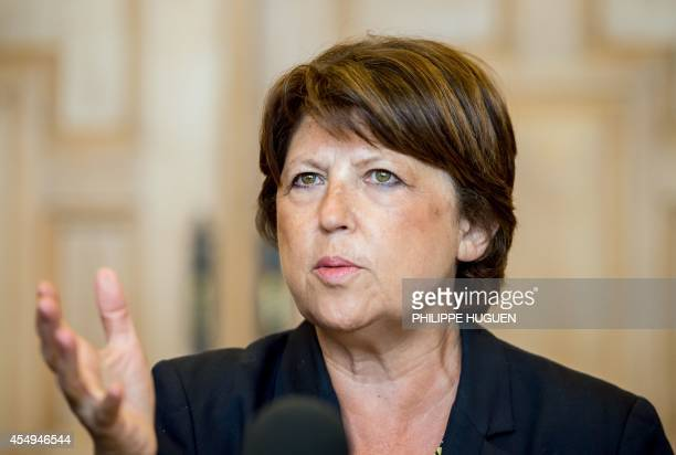 Lille's mayor and former Socialist party first secretary Martine Aubry gives a press conference on September 8 2014 in Lille the day after...