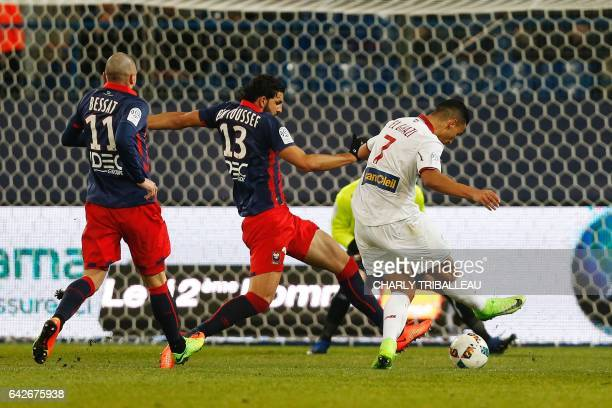 Lille's midfielder Anwar El Ghazi scores a goal during the French L1 football match between Caen and Lille on February 18 2017 at the Micheld'Ornano...