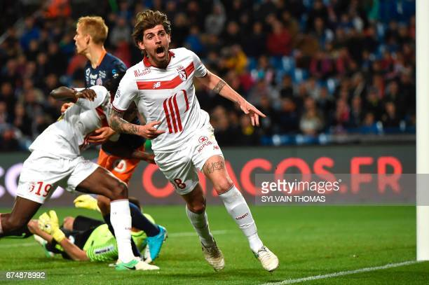 Lille's midfielder Xeka celebrates after scoring during the French L1 football match Montpellier vs Lille at the Mosson stadium in Montpellier on...