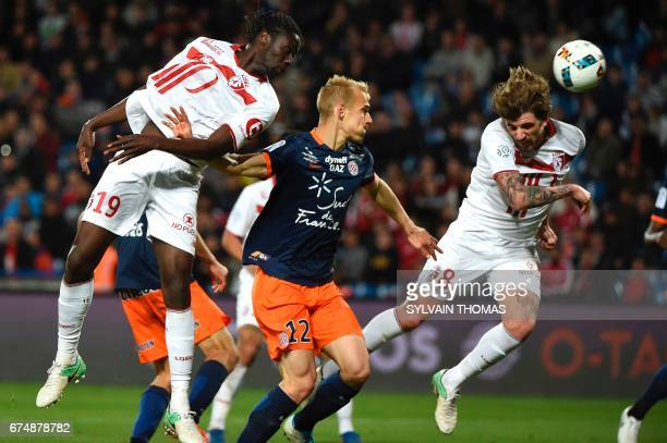 Lille's midfielder Xeka scores a goal during the French L1 football match Montpellier vs Lille at the Mosson stadium in Montpellier on April 29 2017...
