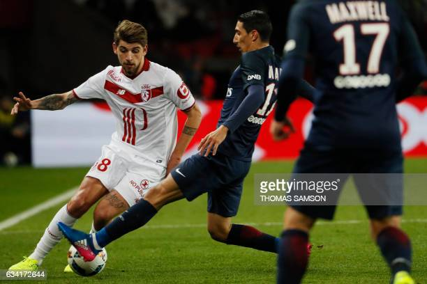 Lille's midfielder Xeka vies with Paris SaintGermain's Argentinian forward Angel Di Maria during the French L1 football match between Paris...