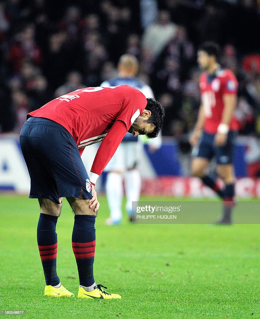 Lille's Montenegrin defender Marko Basa looks dejected at the end of the French L1 football match Lille vs Troyes on February 2, 2013 at the Grand Stade Stadium in Villeneuve d'Ascq.