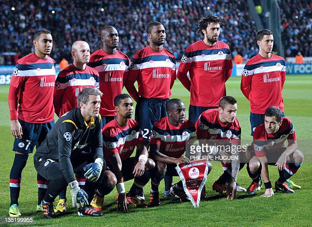 Lille's players pose prior to the UEFA Champions League Group B football match Lille vs Trabzonspor AS on December 7 2011 at the Lille metropole...