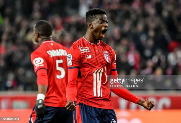 Lille's Portuguese defender Edgar Ie celebrates after Lille won the French L1 football match against Toulouse on December 2 2017 at Pierre Mauroy...