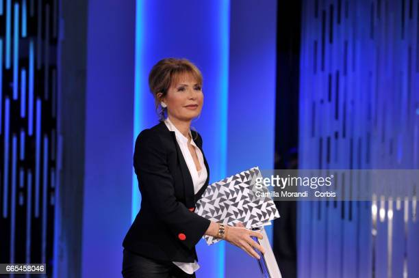 Lilli Gruber attends 'Otto E Mezzo' Talk Show on April 6 2017 in Rome Italy