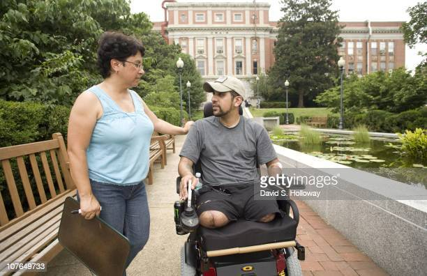 Lilliam Valentin de Rosa spends time with her son Iraq war veteran SGT Luis RosaValentin who lost both of his legs left arm and hearing while serving...