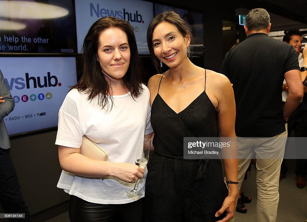 Lillian Grace and Michelle Dickinson pose at the launch of Newshub, MediaWorks new cross-platform news service on February 9, 2016 in Auckland, New Zealand.
