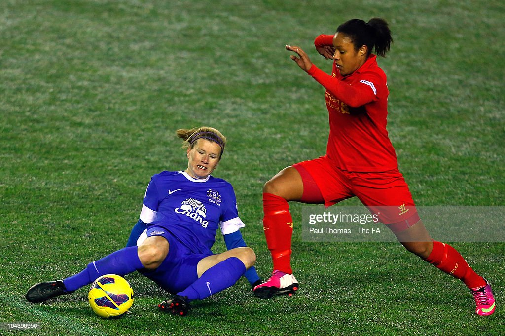 Lillie FenlonBillson of Liverpool in action with Lindsay Johnson of Everton during the FA WSL Continental Cup match between Liverpool Ladies FC v...