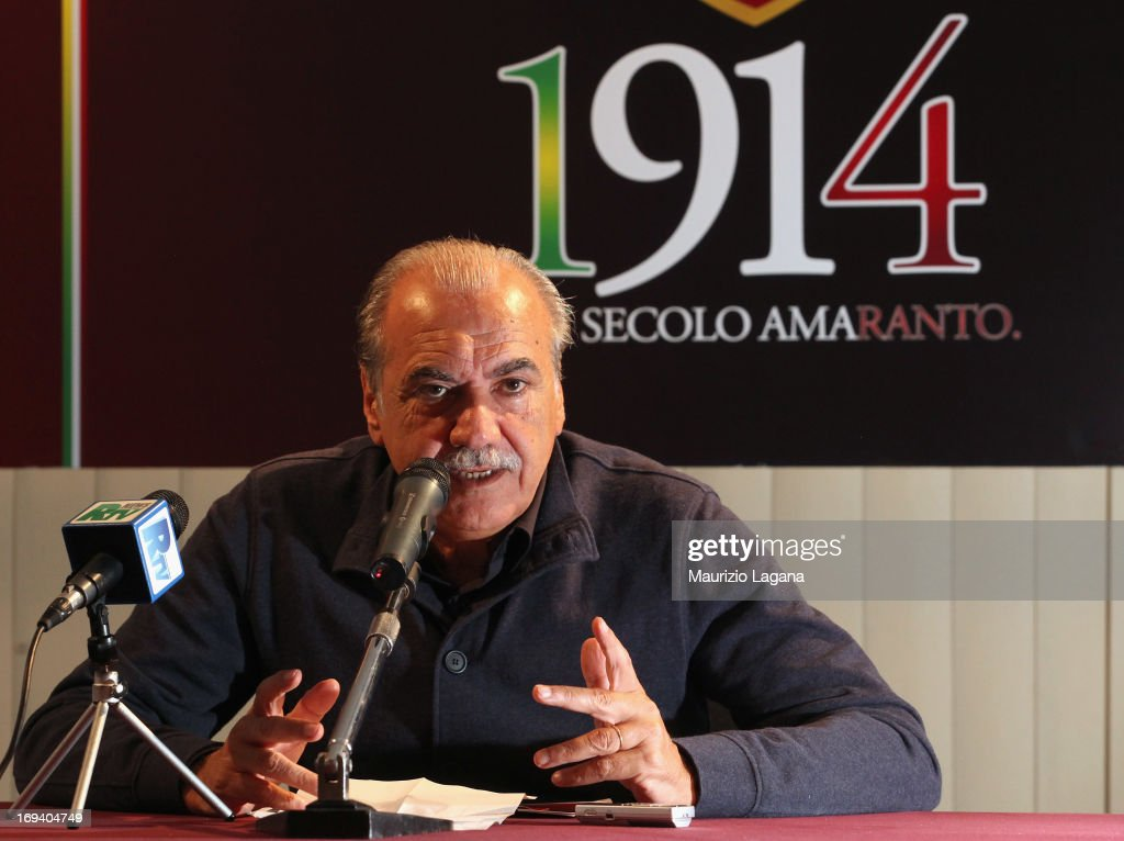 Lillo Foti president of Reggina Calcio attends at press conference for 100th anniversary at Oreste Granillo Stadium on May 24 2013 in Reggio Calabria...