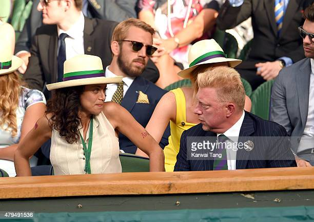 Lilly Becker and Boris Becker attend day six of the Wimbledon Tennis Championships at Wimbledon on July 4 2015 in London England