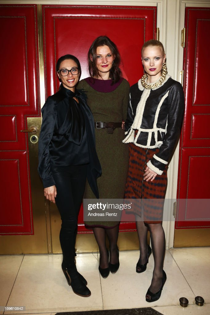 Lilly Becker, Inna Thomas and Franziska Knuppe attend Sava Nald Autumn/Winter 2013/14 fashion show during Mercedes-Benz Fashion Week Berlin at Hotel Adlon Kempinski on January 17, 2013 in Berlin, Germany.
