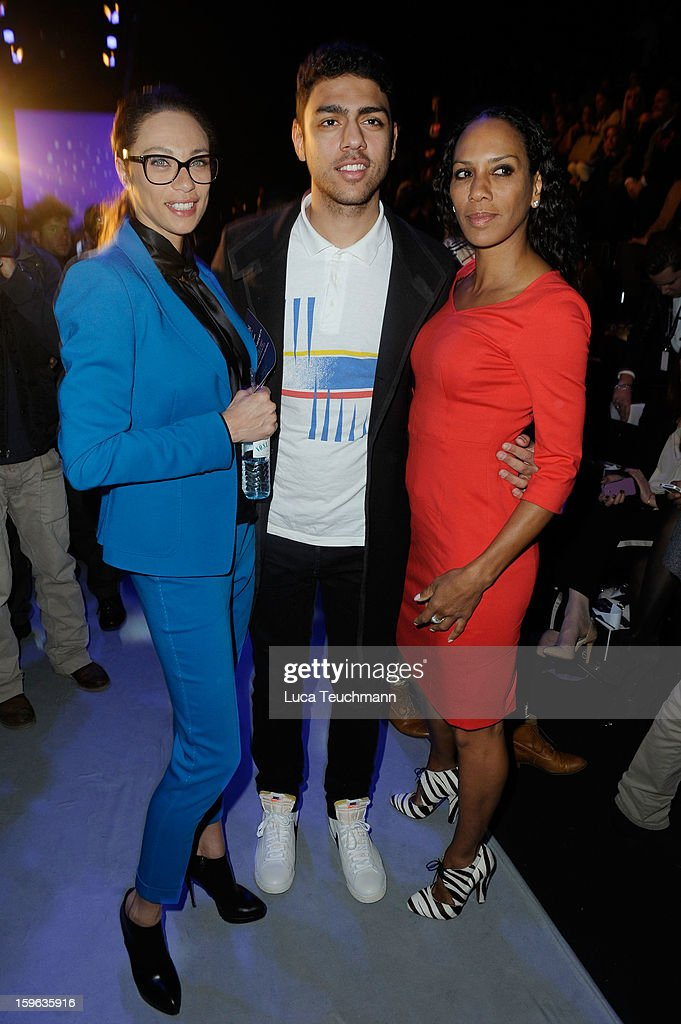 Lilly Becker, Noah Becker and Barbara Becker attend the Laurel Autumn/Winter 2013/14 fashion show during Mercedes-Benz Fashion Week Berlin at Brandenburg Gate on January 17, 2013 in Berlin, Germany.