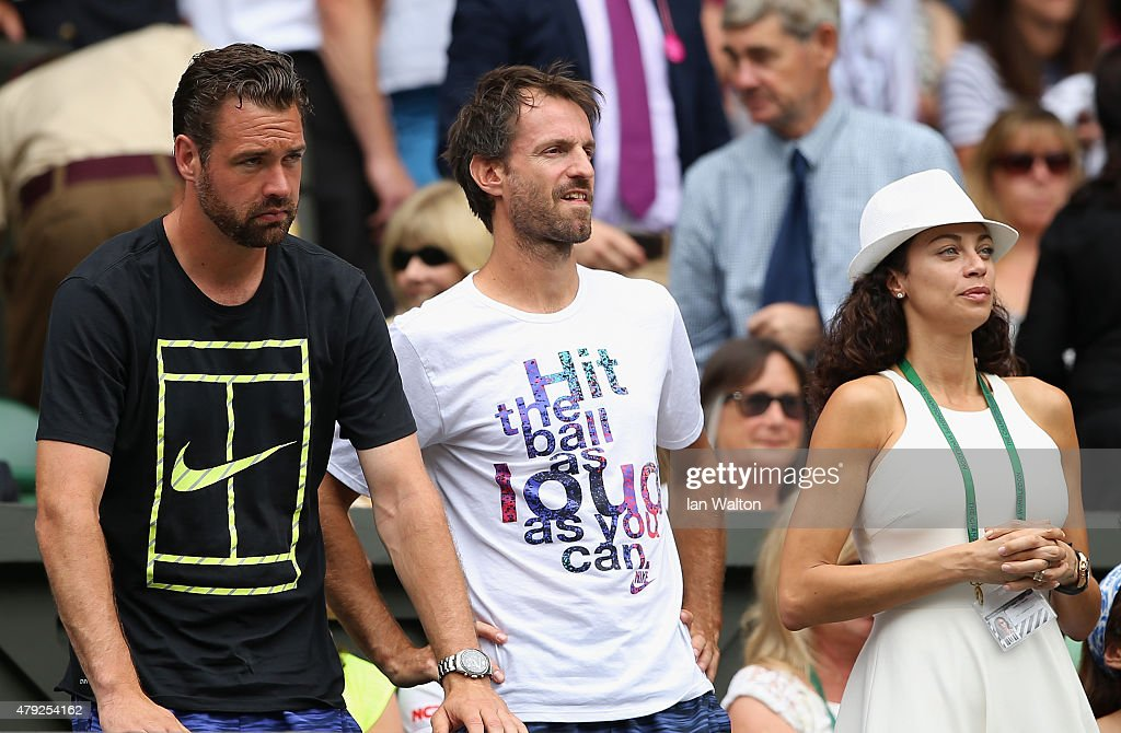 Lilly Becker, wife of Boris Becker (R) and <a gi-track='captionPersonalityLinkClicked' href=/galleries/search?phrase=Christopher+Kas&family=editorial&specificpeople=987913 ng-click='$event.stopPropagation()'>Christopher Kas</a> (C), coach of Sabine Lisicki watch Sabine Lisicki of Germany against Christina McHale of USA in the Women's Singles Second Round match during day four of the Wimbledon Lawn Tennis Championships at the All England Lawn Tennis and Croquet Club on July 2, 2015 in London, England.