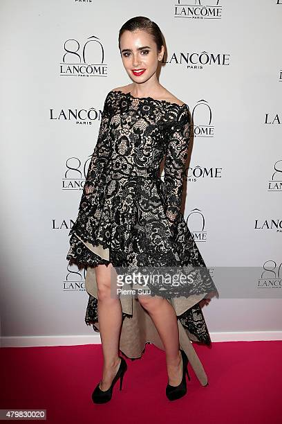 Lilly Collins attend the Lancome 80th Anniversary Party as part of Paris Fashion Week Haute Couture Fall/Winter 2015/2016 on July 7 2015 in Paris...