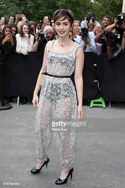 Lilly Collins attends the Chanel show as part of Paris Fashion Week Haute Couture Fall/Winter 2015/2016 on July 7 2015 in Paris France