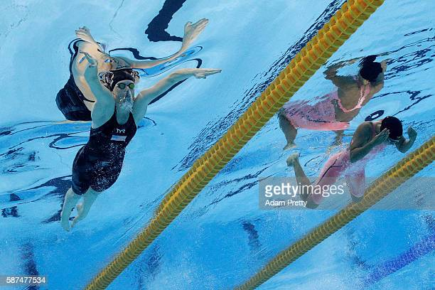 Lilly King of the United States and Yulia Efimova of Russia compete in the Women's 100m Breaststroke Final on Day 3 of the Rio 2016 Olympic Games at...