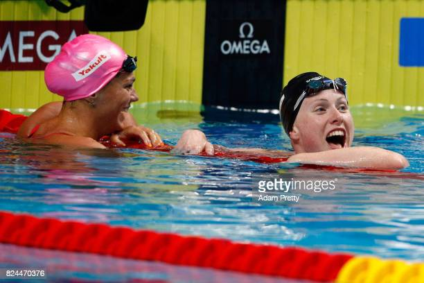 Lilly King of the United States celebrates victory and a new World Record of 2940 in the Women's 50m Breastsroke Final on day seventeen of the...