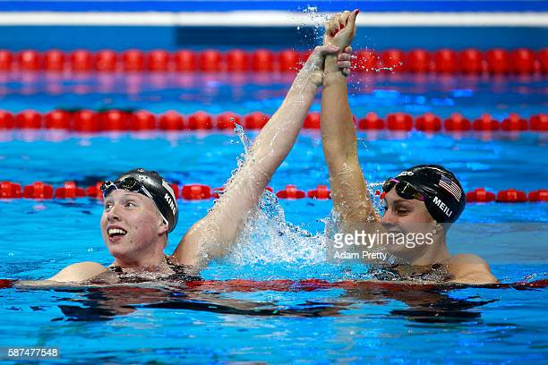 Lilly King of the United States celebrates winning gold with Katie Meili of the United States in the Women's 100m Breaststroke Final on Day 3 of the...