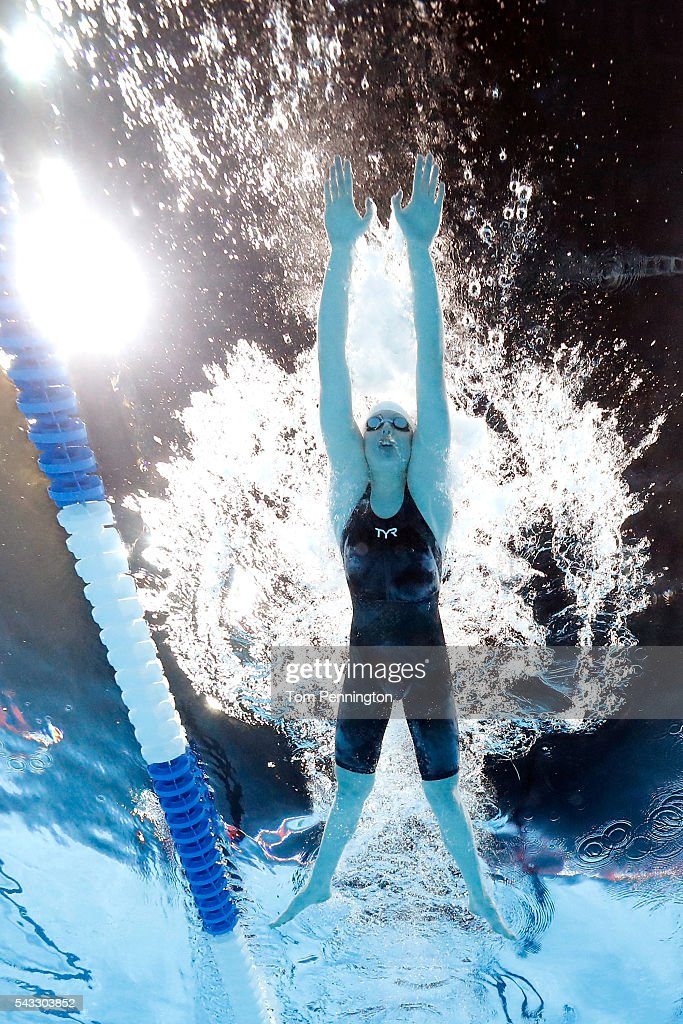 Lilly King of the United States competes in a heat for the Women's 100 Meter Breaststroke during Day Two of the 2016 U.S. Olympic Team Swimming Trials at CenturyLink Center on June 27, 2016 in Omaha, Nebraska.