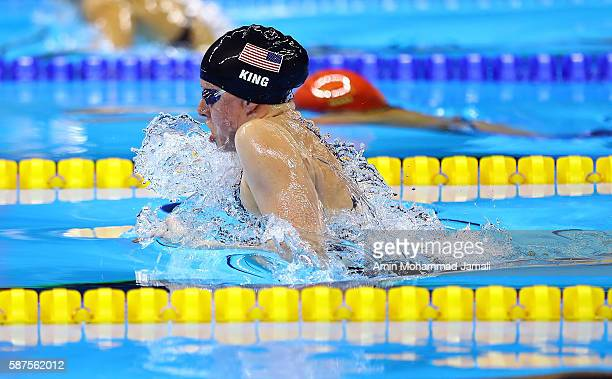 Lilly King of the United States competes in the Women's 100m Breaststroke Final on Day 3 of the Rio 2016 Olympic Games at the Olympic Aquatics...