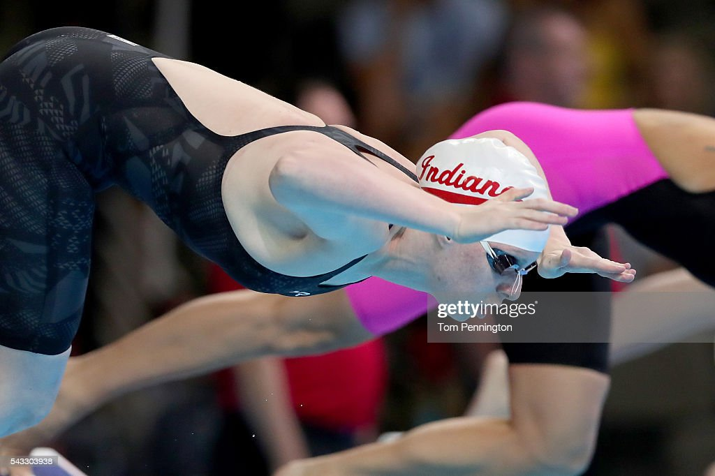 Lilly King of the United States dives in to compete in a heat for the Women's 100 Meter Breaststroke during Day Two of the 2016 U.S. Olympic Team Swimming Trials at CenturyLink Center on June 27, 2016 in Omaha, Nebraska.