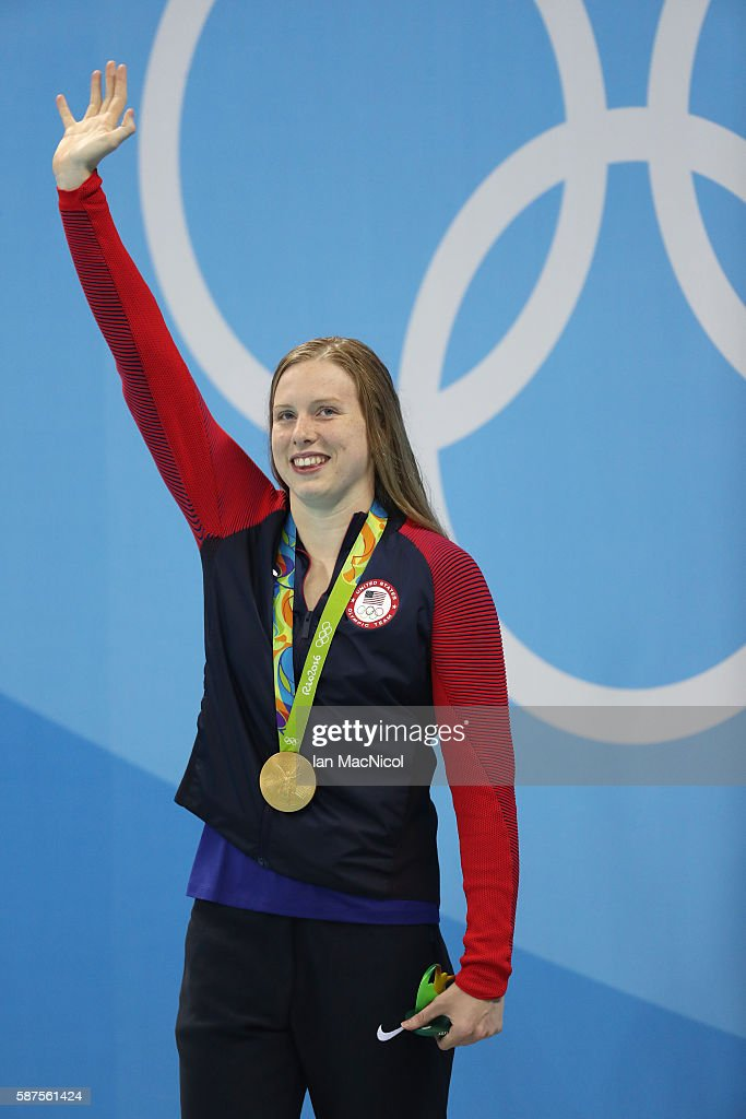 Lilly King of United States poses with her gold medal from the Women's 100m Breaststroke on Day 3 of the Rio 2016 Olympic Games at the Olympic Aquatics Stadium on August 8, 2016 in Rio de Janeiro, Brazil.