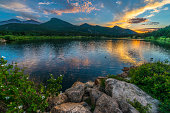 Beautiful sunset sky over Lily Lake - Rocky Mountain National Park Colorado