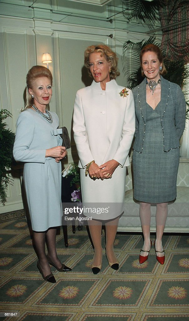 Lilly Safra, Princess Michael, and Barbar De Portago pose for a picture April 21, 1999 at the Versailles Foundation in New York City. The Foundation raises money for charitable causes.