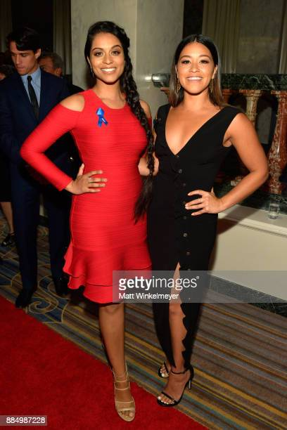 Lilly Singh and honoree Gina Rodriguez attend ACLU SoCal Hosts Annual Bill of Rights Dinner at the Beverly Wilshire Four Seasons Hotel on December 3...