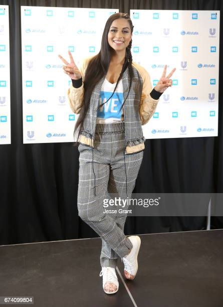 Lilly Singh poses in the press room at WE Day California to celebrate young people changing the world at The Forum on April 27 2017 in Inglewood...