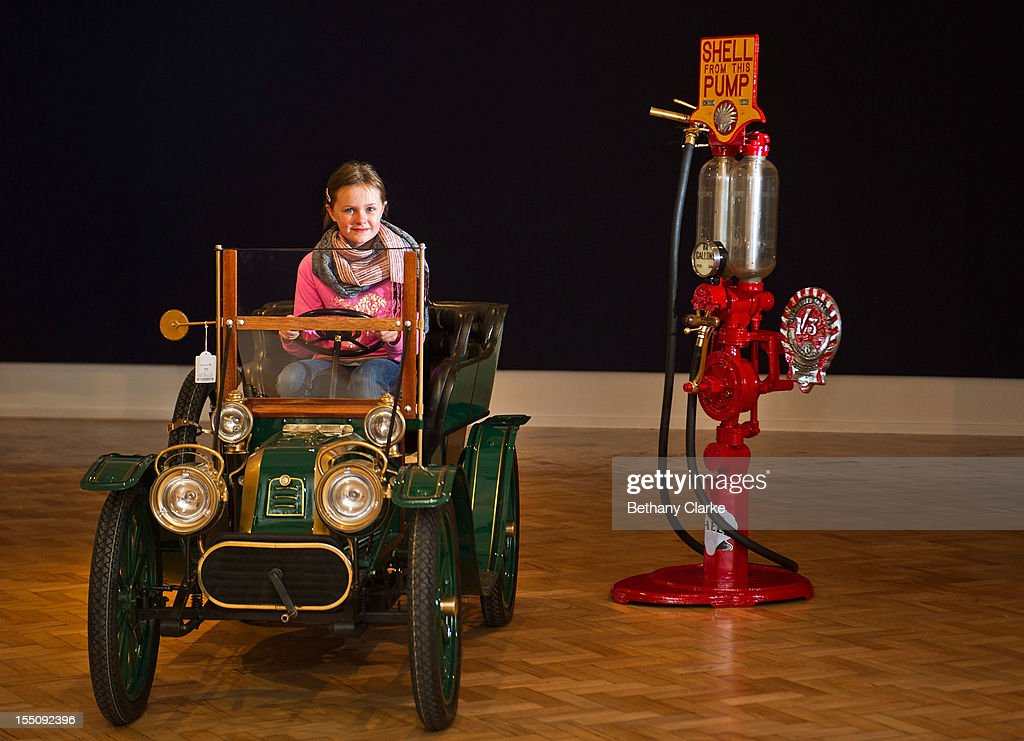 Lilly Slater, 8 sits in a 1940s Talbot CT2K Tonneau Child's Car on November 1, 2012 in London, England. The Car is part of a veteran car sale at Bonhams and is valued at around 4,000 pounds