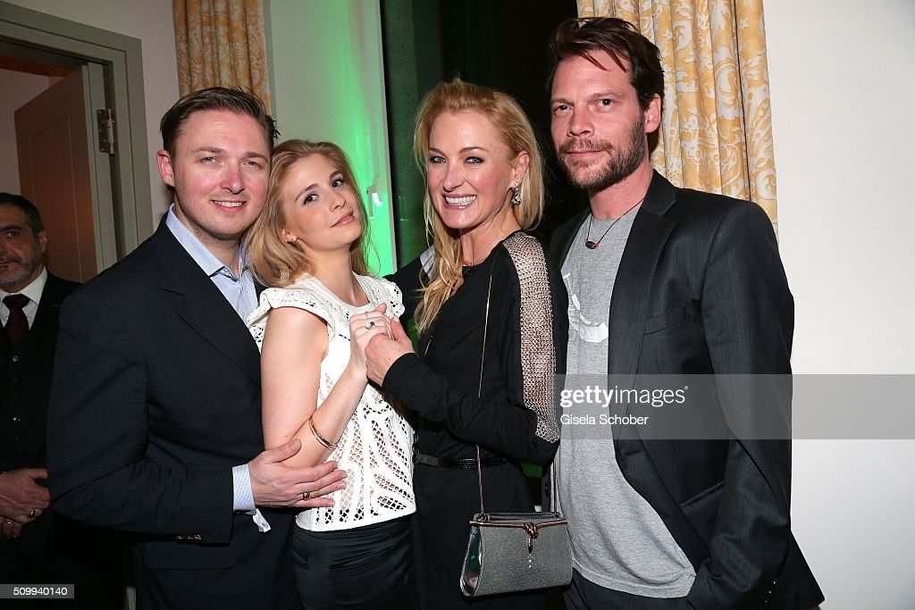 Lilly zu Sayn-Wittgenstein and her boyfriend Stephane Gerschel (R) and her brother Maximilian Prinz zu Sayn Wittgenstein Berleburg and his wife Franziska (L) during the Bunte and BMW Festival Night 2016 during the 66th Berlinale International Film Festival Berlin on February 12, 2016 in Berlin, Germany.