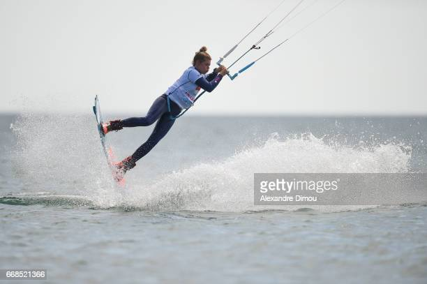 Liloo Fourre of France competes in the WKL Kiteboarding World Cup 2017 freestyle qualifiers on April 14 2017 in Leucate France