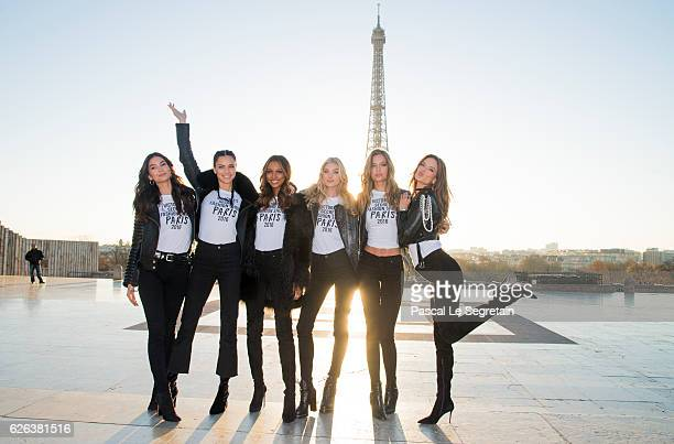 Lily Aldridge Adriana Lima Jasmine Tookes Elsa Hosk Josephine Skriver and Alessandra Ambrosio attend a photocall for the Victoria's Secret Angels...