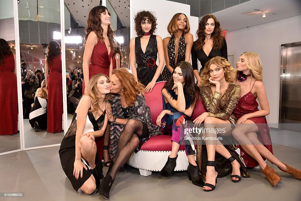 Lily Aldridge, Alanna Arrington, Jourdan Dunn, Irina Shayk, (front row L-R) Gigi Hadid, Diane Von Furstenberg, Kendall Jenner, Karlie Kloss and Elsa Hosk pose wearing Diane Von Furstenberg Fall 2016 during New York Fashion Week on February 14, 2016 in New York City.