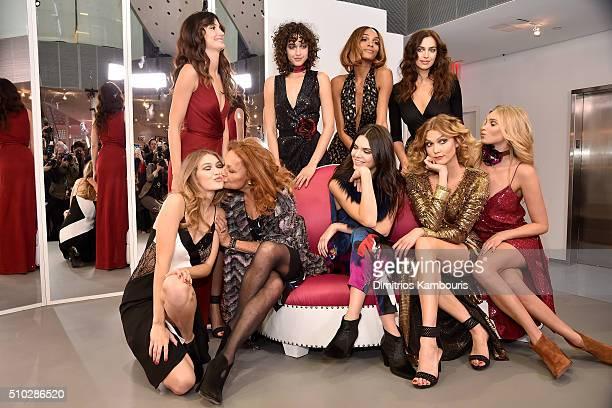 Lily Aldridge Alanna Arrington Jourdan Dunn Irina Shayk Gigi Hadid Diane Von Furstenberg Kendall Jenner Karlie Kloss and Elsa Hosk pose wearing Diane...