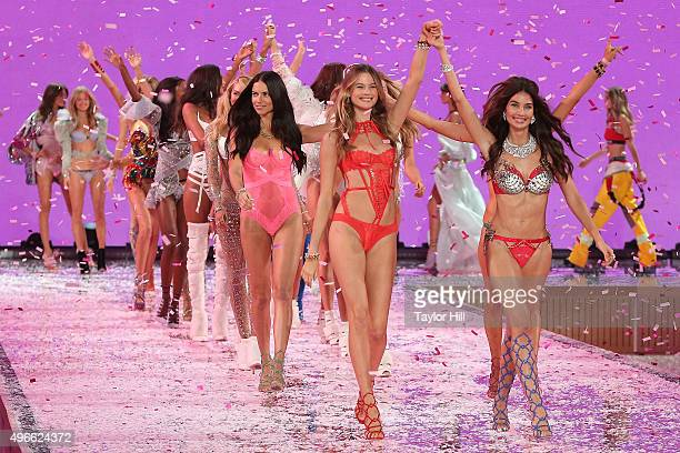 Lily Aldridge and Behati Prinsloo lead the finale during the 2015 Victoria's Secret Fashion Show at Lexington Avenue Armory on November 10 2015 in...