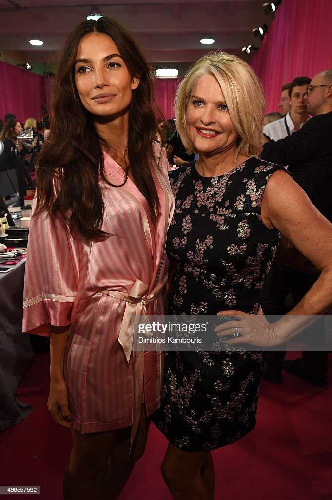 Lily Aldridge and Victoria's Secret CEO Sharen Turney are seen backstage before the 2015 Victoria's Secret Fashion Show at Lexington Avenue Armory on...