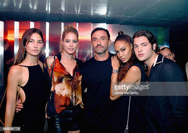 Lily Aldridge Doutzen Kroes Riccardo Tisci Joan Smalls and Peter Brant attend the Givenchy SS16 After Party on September 11 2015 in New York City
