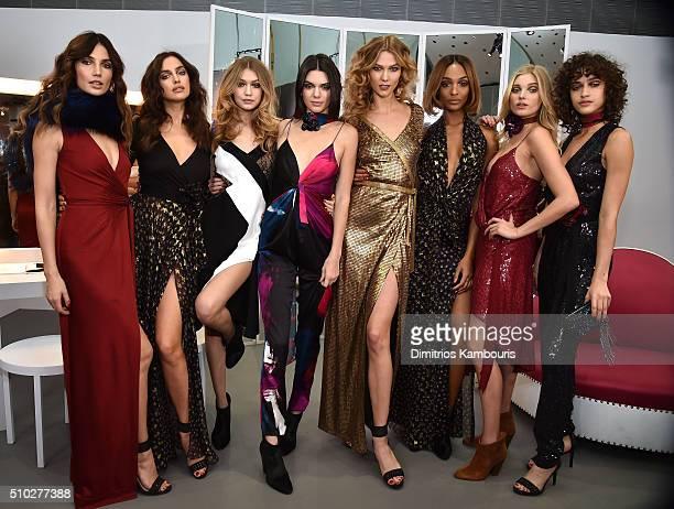 Lily Aldridge Irina Shayk Gigi Hadid Kendall Jenner Karlie Kloss Jourdan Dunn Elsa Hosk and Alanna Arrington pose wearing Diane Von Furstenberg Fall...